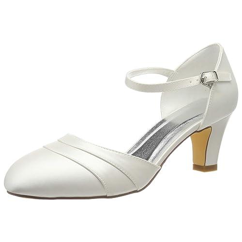 4bb5ea79c4b486 Emily Bridal Chaussures de Mariée Souliers de Soie en Soie de Femme en  Forme de Talon