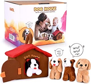 HAKOL Dog House Carrier Educational Toy with 4 Squishy & Barking Puppies Playset – Compact, Soft, Plush, Huggable – Develop Fine Motor Skills, Promote Learning & Empathy, Encourage Imaginative Play