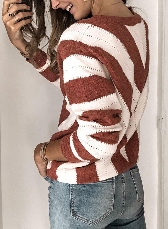 Asvivid Color Block Striped V Neck Sweater for Women Long Sleeve Knit Pullover Jumper Tops