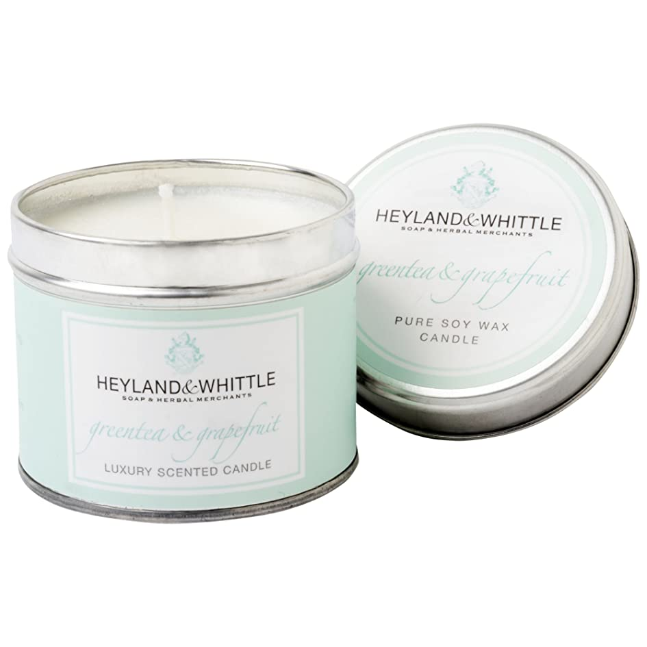 Heyland & Whittle Green Tea and Grapefruit Candle Tin (Pack of 6) - Heyland&削る緑茶とグレープフルーツキャンドルスズ (Heyland & Whittle) (x6) [並行輸入品]