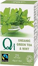 Qi Tea Organic Green Tea and Mint Teabags, 25 Count