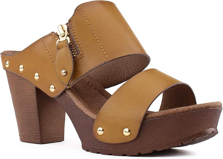 RF ROOM OF FASHION Women's Studded Double Strap Zipper Decor Chunky Platform Clog Heel Sandals