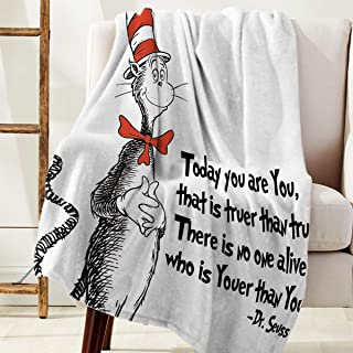 DoremiHome Plush Throw Blanket 40x50 inches Dr. Seuss Bed Blanket Soft Warm Blankets for All Seasons, Lightweight Travelling Camping Throw Size for Kids Adults, Classic Cat in The Hat