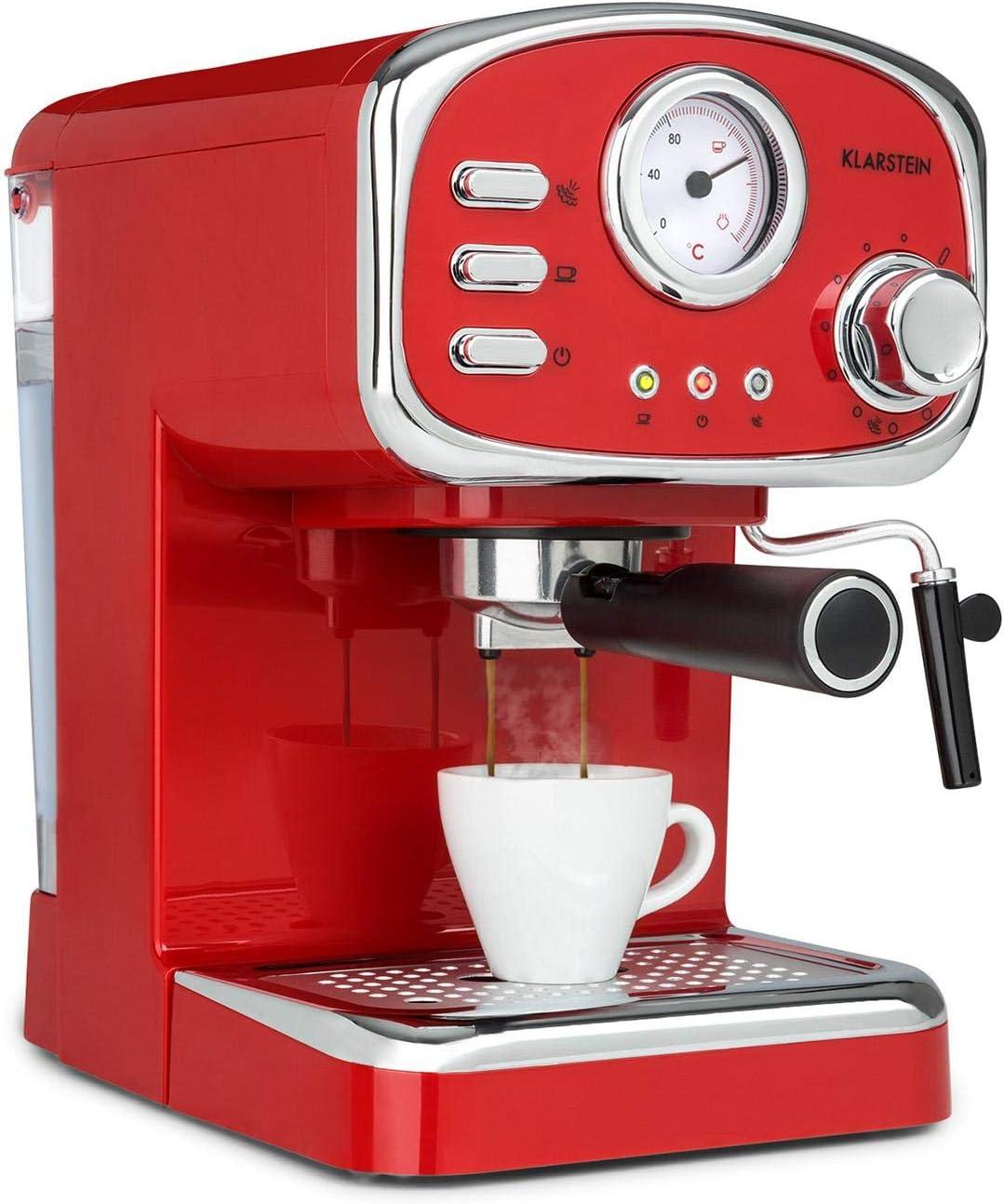 Klarstein Espressionata Gusto - Cafetera espresso, Rejilla acero inoxidable extraíble, EasyBrewing, Boquilla móvil para espuma y agua caliente, Depósito 1L, 1100W, 15 bar de presión, Rojo