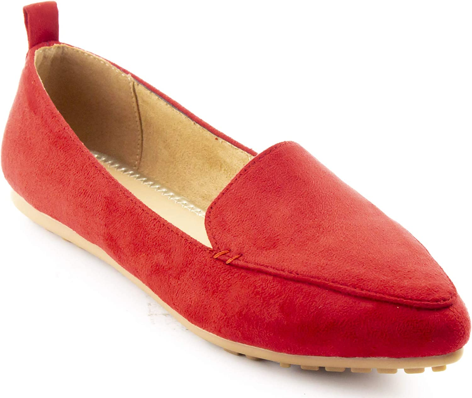 Calico KiKi Pointed Toe Flats Loafer - Comfort Slip on Faux Suede - Casual Dress Flat Cushioned Padded (6 US RED SU)