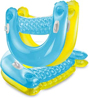 Inflatable Chair Floats with Cup Holders [Set of 4] Sit 'N Float Inflatable Colorful Floating Loungers, Sitting Pool Floats come in 2 Fun Colors; Blue & yellow Bundled with 4 Sewanta Duckies