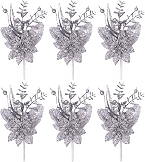 Valery Madelyn 6 Packs Silver Glitter Christmas Floral Picks with Artificial Christmas Flower and Leaf for Christmas Decoration and Home Decor