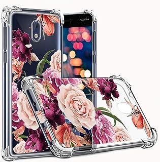 Osophter Compatible with Nokia 2V Flower Case,Nokia 2 V Floral Case Shock-Absorption Flexible TPU Rubber Soft for Nokia 2.1 2018