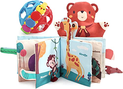 2021 CUTE new arrival STONE Soft Baby Book & Ball Rattle Toys,Cloth Book with Crinkly Sounds,Animal Tail,Finger Puppet,Baby Rattle Set,Fun Interactive Toy,Touch and Feel Fabric Book outlet sale Set for Baby Girls Boys Infant online