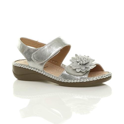 5d899205c Ajvani Womens Ladies Low Wedge Heel Hook   Loop Strap Slingback Flower  Comfort Leather Insole Sandals
