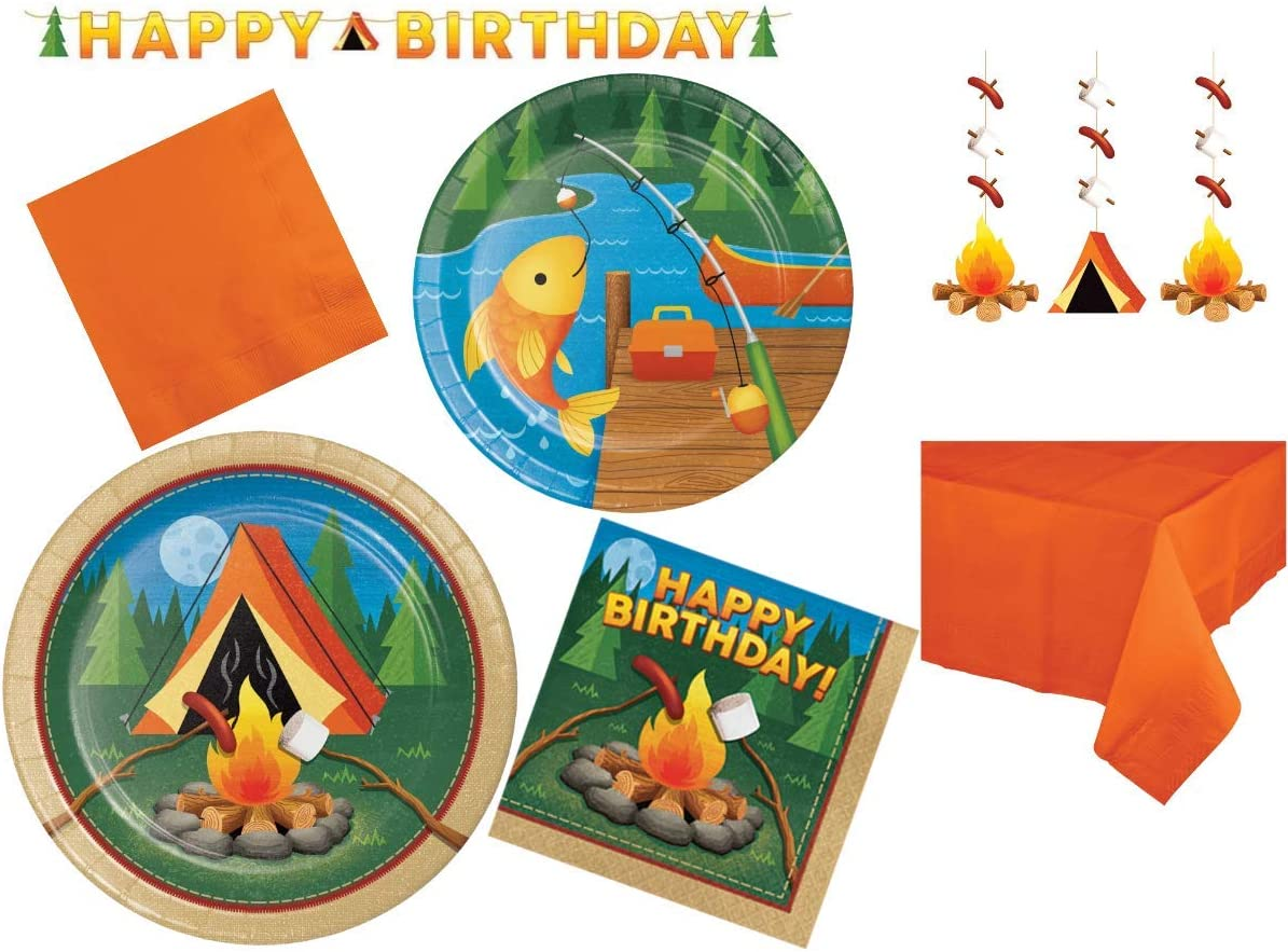 Camp Out Happy Birthday マート 国際ブランド Party Supplies Deco Kit Themed Camping