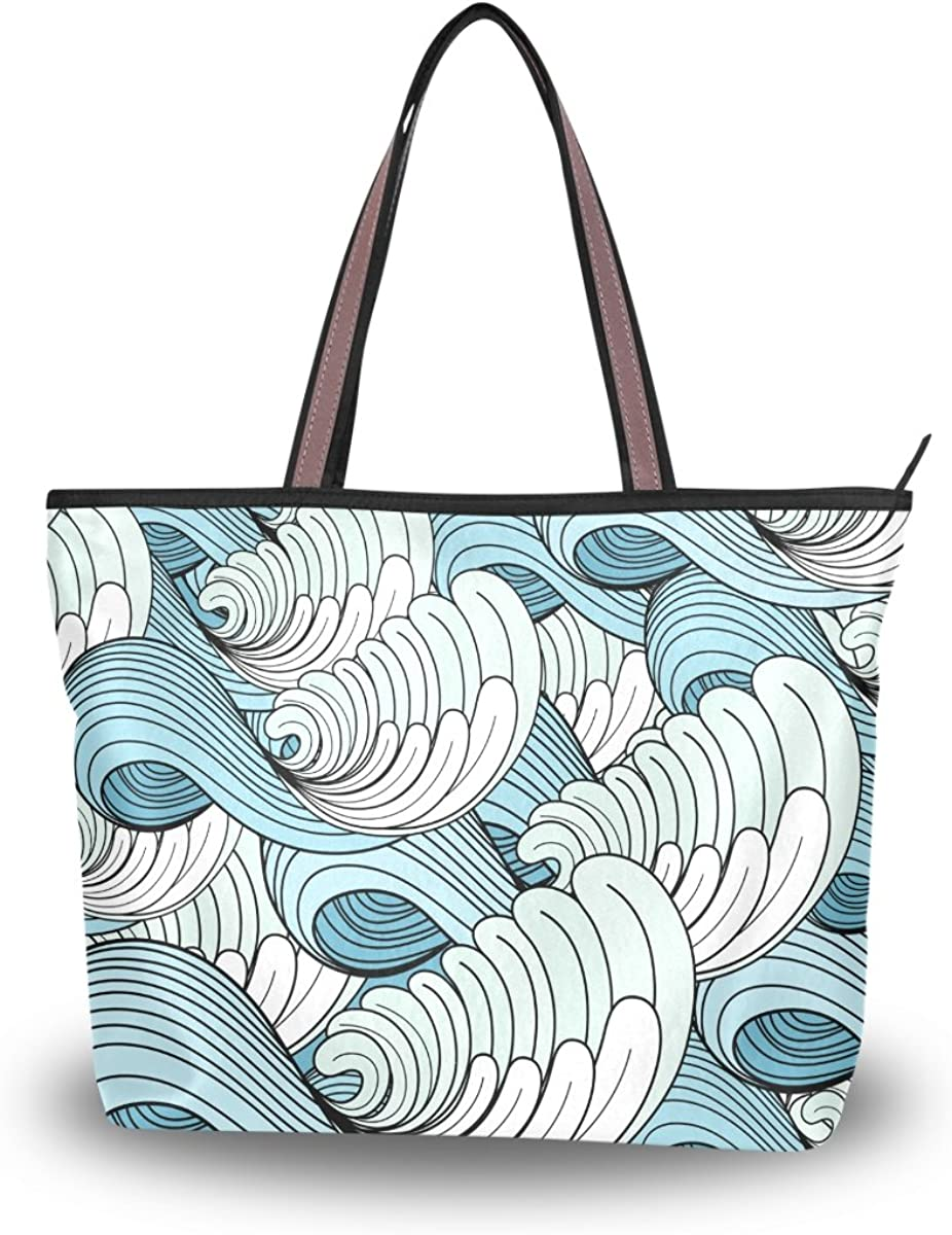 JSTEL Women Large Tote Top Handle Shoulder Bags Graphic Texture Of The Waves Patern Ladies Handbag