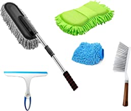Winberg ® Car Cleaning Combo Pack Microfiber Duster Carpet Brush Washing Scurb Glass Wiper Microfibre Gloves Full Interior...
