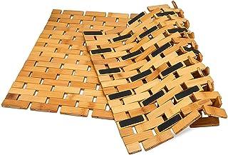 Nisorpa 竹製バスマット 風呂すのこ シャワーマット 木製フロアマット 60cm×90cm マルチパネルストリップ付き 滑り止め 折りたたみ可能 速乾性 浴室 スパ用 ノンスリップ 防水 浴槽マット 屋内外用