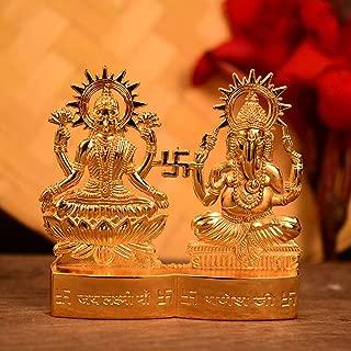 Hashcart Hindu God Lakshmi Ganesh Gold Plated Figurine/Statue (4 inch)