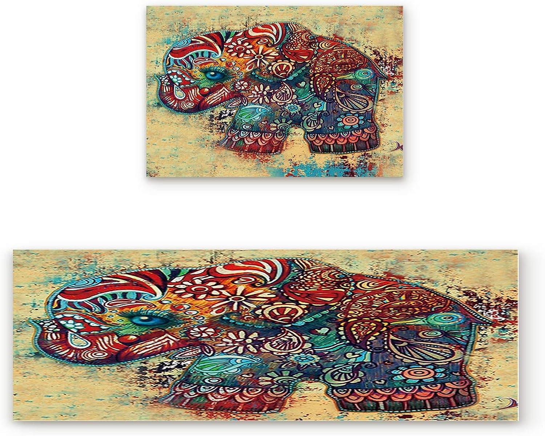 Aomike 2 Piece Non-Slip Kitchen Mat Rubber Backing Doormat Bohemia Ink Elephant Runner Rug Set, Hallway Living Room Balcony Bathroom Carpet Sets (19.7  x 31.5 +19.7  x 47.2 )