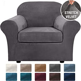H.VERSAILTEX Rich Velvet Stretch 2 Piece Chair Cover Chair Slipcover Sofa Cover Furniture Protector Couch Soft with Elastic Bottom Chair Couch Cover with Arms, Machine Washable(Chair,Grey)