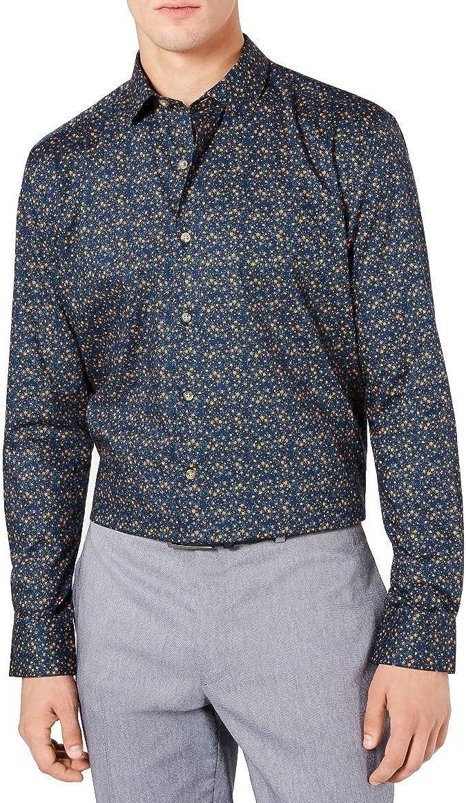 bar III Mens Dress Shirt Large 16-16 1/2 Button Down Blue L