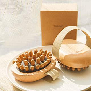 Yoonar Handheld Natural Wood Wooden Massager Body Brush Cellulite Reduction Relaxing 1Pc