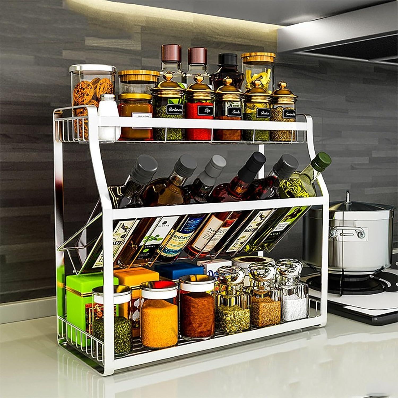 Kitchen Shelf Multipurpose Spice Racks, Stainless Steel Kitchen Seasoning Shelves Kitchen Storage Organizer Kitchen Storage Racks (Size   40cm18cm40cm)