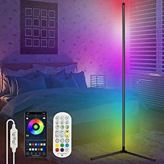 Lampadaire LED à intensité variable avec télécommande, lampe d'angle à intensité variable en continu, couleur changeante R...