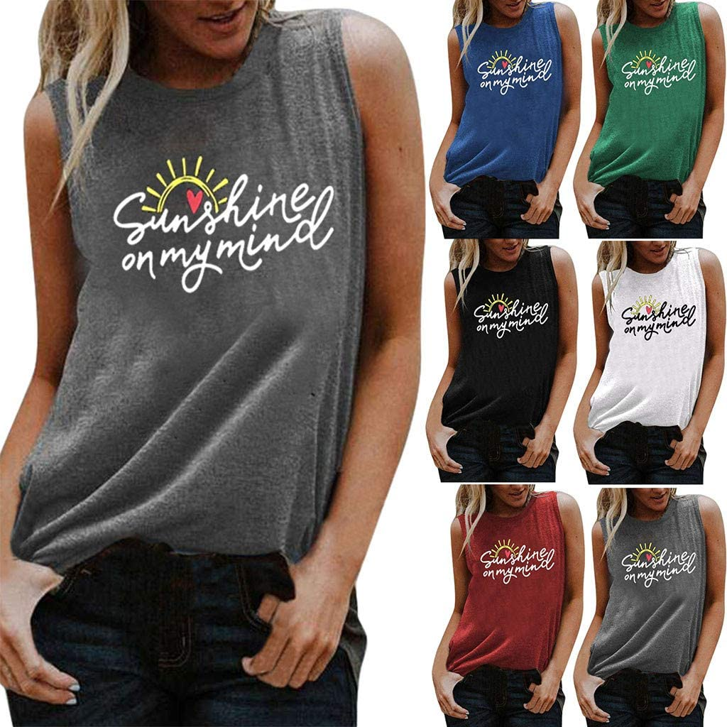 AODONG Tops for Women, Womens Casual Summer Tank Tops Loose Fit Sleeveless Workout Shirts Vest Blouses Tunics