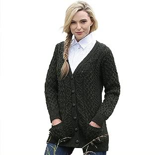 Aran Crafts Irish Merino Wool Aran Knit Boyfriend Sweater