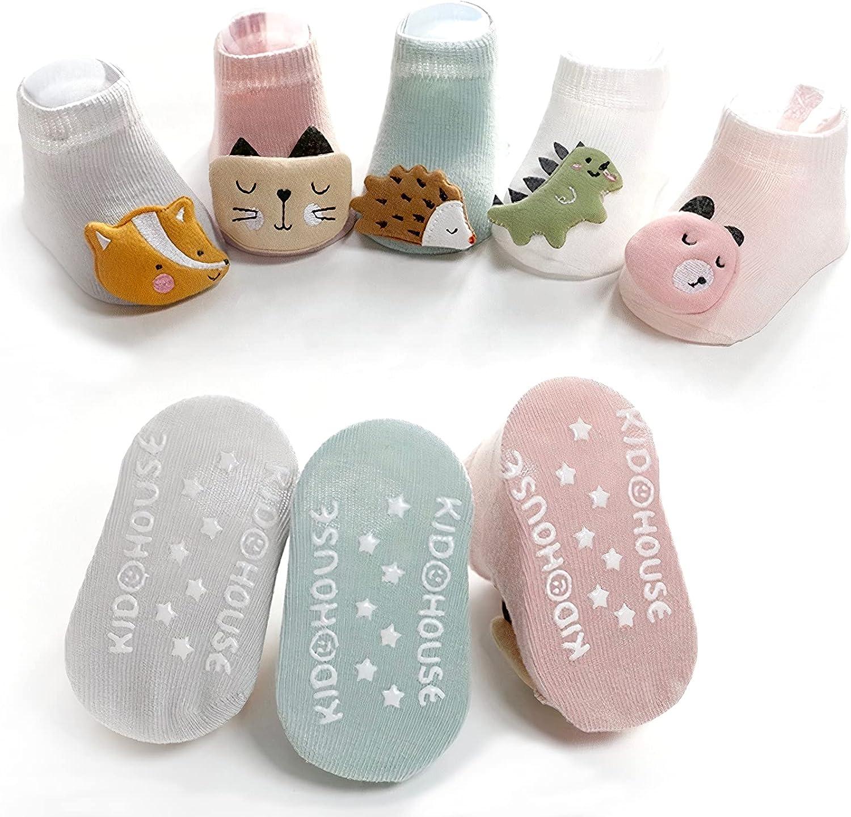 Cute Unisex Baby socks Cotton Non Skid 3D for Infants Newborn boys girls 5-pack