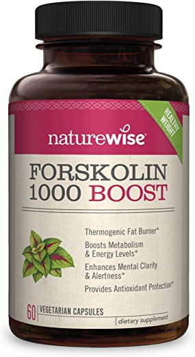 NatureWise Premium Forskolin 1000 Boost   Highest Concentration Pure Active Forskolin for Weight Loss + Natural Fat Burner Blend with Green Tea, Yerba Mate, Guarana, Coleus Forskohlii [1 Month Supply]