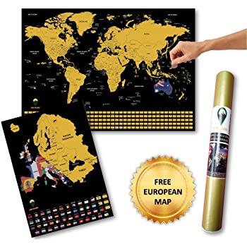 Global Walkabout A2 Scratch Off World Map and BONUS A3 Europe Map with Flags background – Deluxe LARGE Travel Size World Map Poster – Countries and Facts – Travel Gift