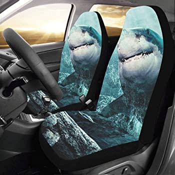 Dellukee Car Seat Cover Shark Print Colorful Universal 4pc Front Car Seat Covers Protectors for Most Car Truck SUV Van