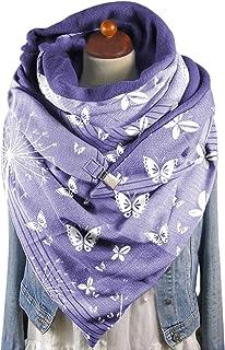 Clenp Bufanda para mujer – Moda para otoño e invierno estampado de mariposas suave envolvente bufanda casual cálido chal