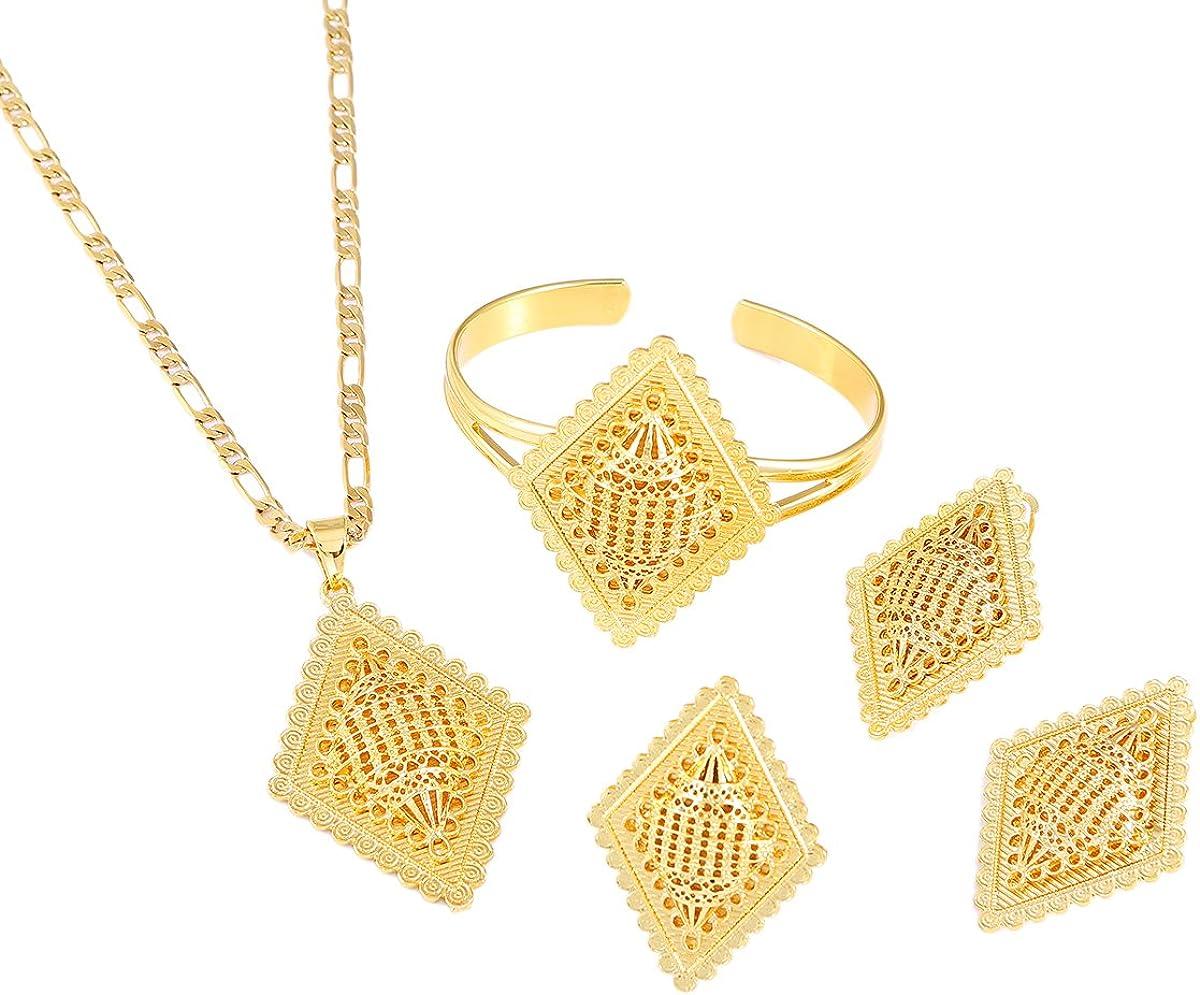 Ethiopian New Jewelry Sets Gold Color Eritrean African Sudan Engagement Bride Wedding Habesha Luxury Jewelry