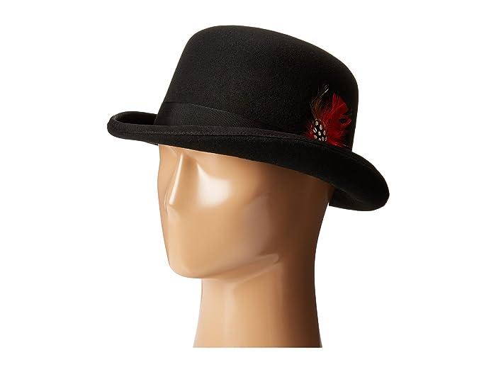 SCALA  Wool Felt Derby Hat with Grosgrain Trim (Black) Caps