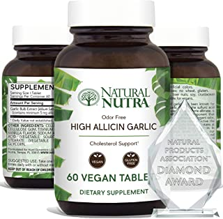 Natural Nutra High Allicin Garlic Supplement, High Blood Pressure and Cholesterol, Supports Immune System, Improve Enzymes...