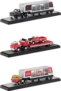 Auto Haulers Race Version Coca-Cola Release Set of 3 Trucks 1/64 Diecast Models by M2 Machines 56000-RC01