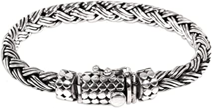 NOVICA .925 Sterling Silver Men's Braided Chain Bracelet 'Friendship'