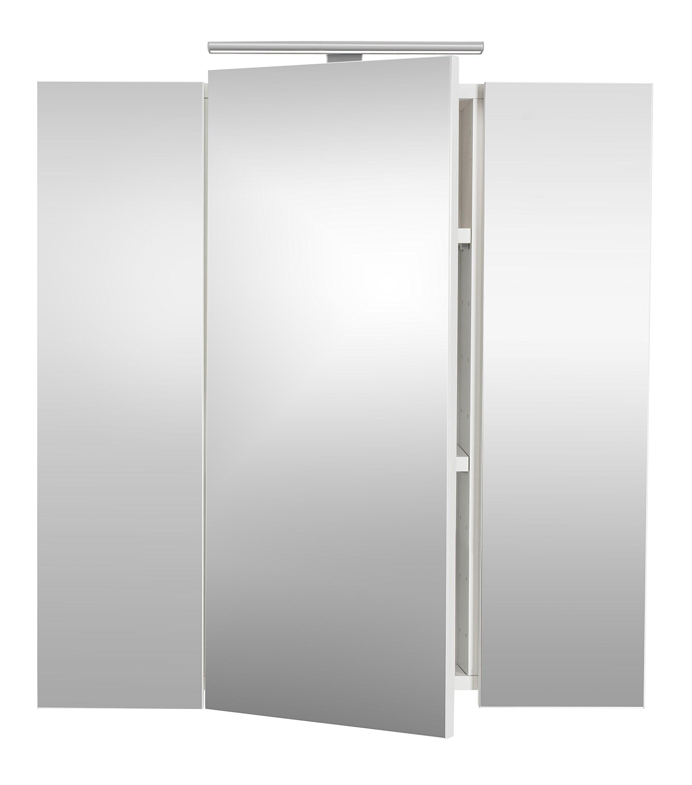 Posseik 5422 76 - Armario con 3 Puertas De Espejo, Color Blanco: Amazon.es: Hogar