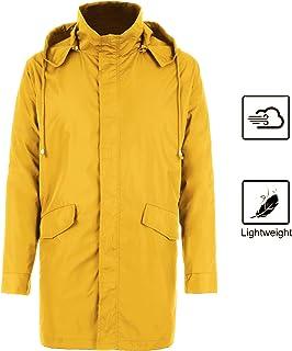 80ef0cf47f845 bosbary Raincoats Men s Waterproof Lightweight Long Rain Jacket Outdoor  Hooded Trench