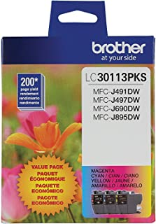 Brother Genuine LC30113PKS 3-Pack Standard Yield Color Ink Cartridges, Page Yield Up to 200 Pages/Cartridge Includes Cyan, Magenta and Yellow, LC3011