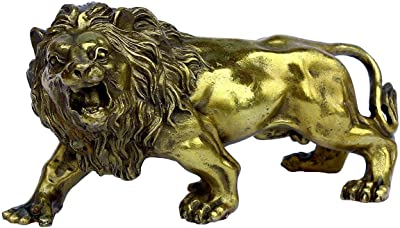 OHAYA African Lion Statue Golden Wealth Figurine Home Decor Gift Ornaments Fengshui Handmade Brass Magical and Noble
