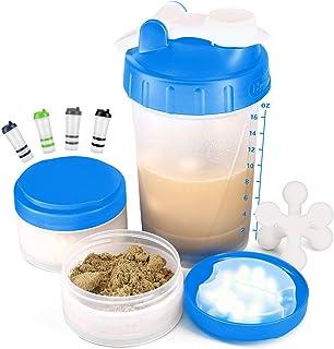 16 OZ Protein Shaker Bottle with Mixer Ball and 2 Interlocking Storage Jars for Pills, Snacks, Coffee, Tea. 100% BPA-Free,...