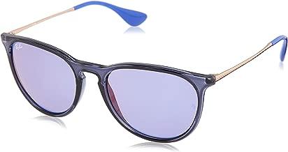 RAY-BAN RB4171 Erika Round Sunglasses, Blue/Violet, Dark Violet Mirror Red