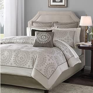Madison Park Tiburon Cal King Size Bed Comforter Set Bed in A Bag - Taupe, Jacquard – 12 Pieces Bedding Sets – Ultra Soft Microfiber Bedroom Comforters