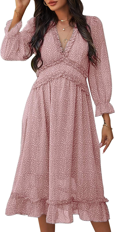 ADDHEAT Women's Chiffon Maxi Dress: Floral Print Strapless Sundress V Neck Ruffles Midi Dresses