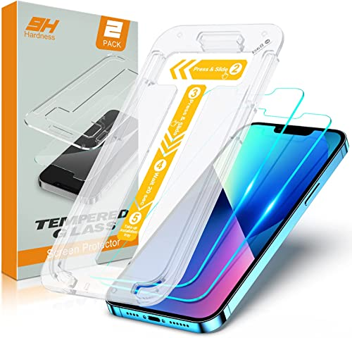 STOON Tempered Glass Screen Protector Compatible with iPhone 13/13 Pro - 6.1 Inch Bubble Free Installation Tray 9H Hardness Shatter & Scratch Proof 0.33mm Clear Tempered Glass Film [2 Pack]