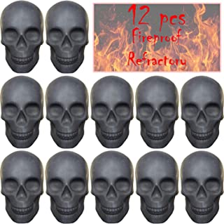 FYZTCOCPT 12PCS Skull Charcoal (Refractory) Imitated Human Skull Gas Log for Indoor or Outdoor Fireplaces, Fire Pits Hallo...