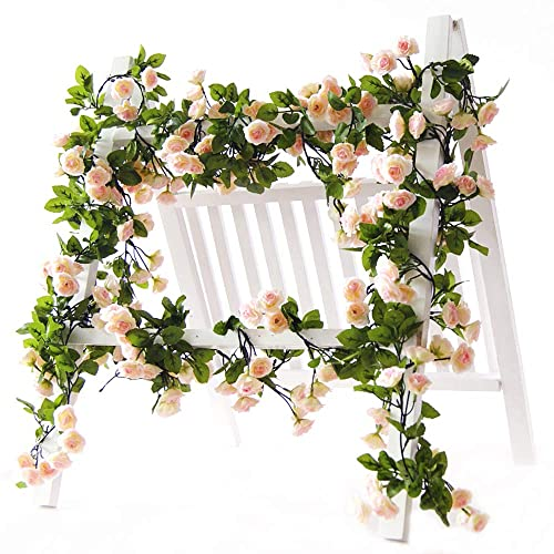 Li hua cat Artificial Flower Pink Rose Garland Rose Vine with Green Leaves 63 Inch Pack of 3 Flower Garland For Home Wedding Decor (Pink)