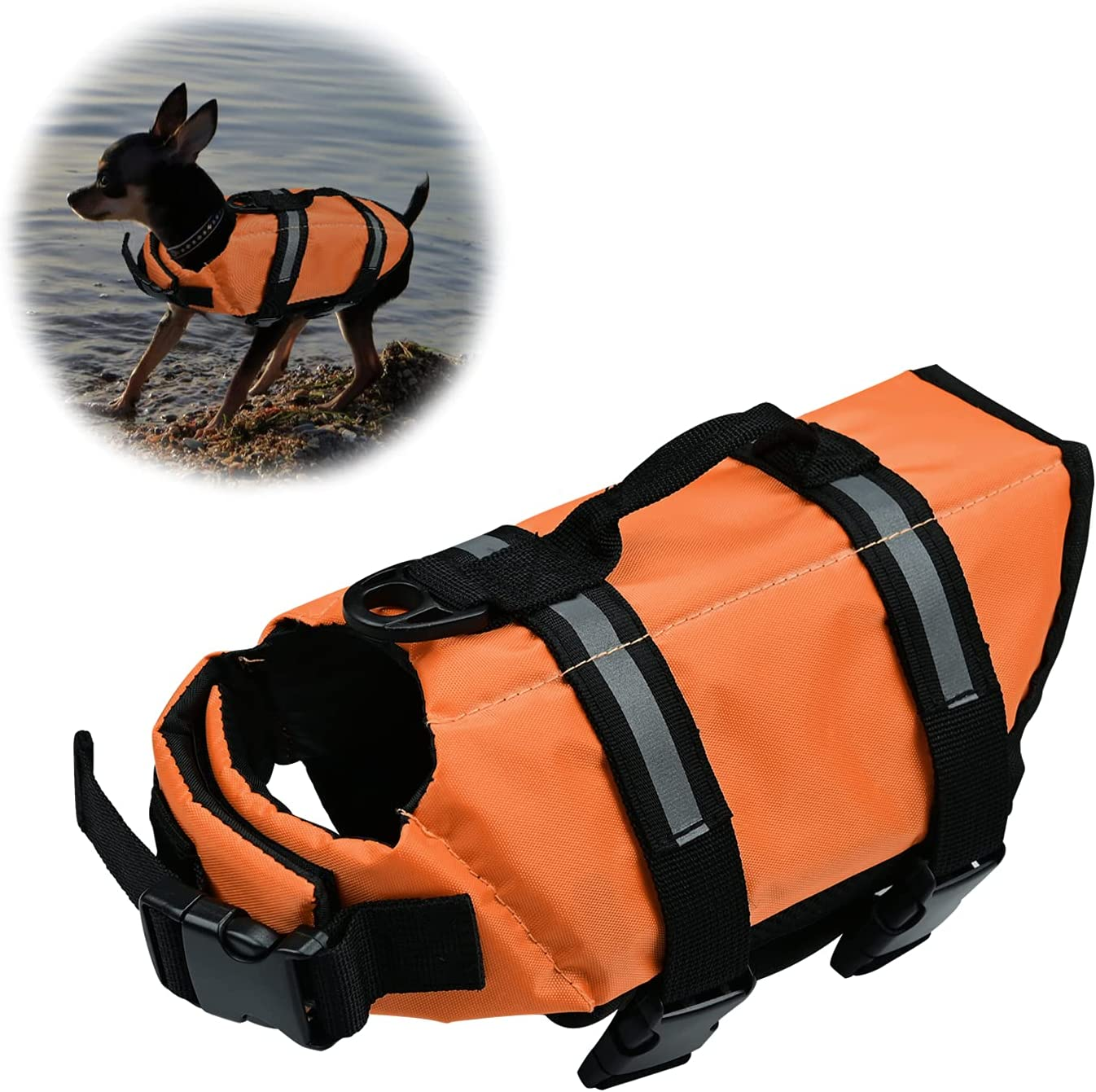 Chaleco Salvavidas para Perros Chaleco de Seguridad Reflectante Chaleco Salvavidas Ajustable para Perros Salvavidas para Mascotas Abrigo para Perros Nadar, Surfear, pasear en Bote (Naranja, Small)
