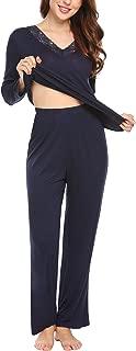 Pajama Set Women's Sleepwear Long Sleeve Shirt with PJ Pants (XS-XL)